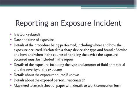 Bloodborne Pathogens Exposure Incident Report Form by Ppt Bloodborne Pathogens Training Powerpoint