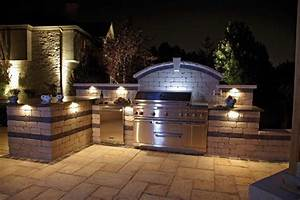 outdoor kitchens that use lighting and texture to stunning With outdoor lighting york region