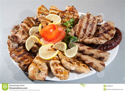 grill cuisine plate of different barbecue grill stock photo