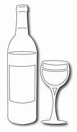 Wine Bottle Glass Template Drawing Dies Frantic Stamper Precision Templates Glasses Line Google Patterns Bottles Printable Coloring Card Stencils Vin sketch template