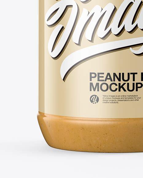 Butter jar mockup, realistic style. Peanut Butter Jar Mockup in Jar Mockups on Yellow Images ...