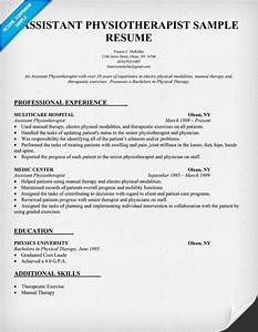 Occupational Therapy Sample Resumes Resume Sample Assistant Physiotherapist Resume Http