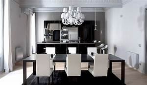 Contemporary and modern dining tables black and white for Modern dining room black and white