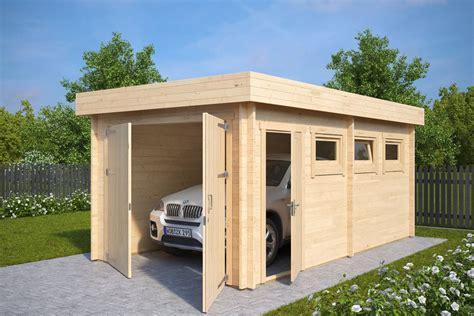 Modern Wooden Garage C With Double Doors / 44mm / 3 X 5,5