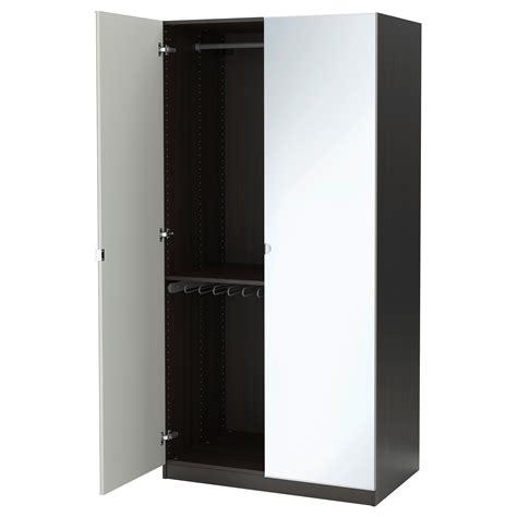 pax wardrobe black brown vikedal mirror glass 100x60x201