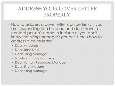Who To Address Your Cover Letter To by Writing A Cover Letter Tips And Ppt
