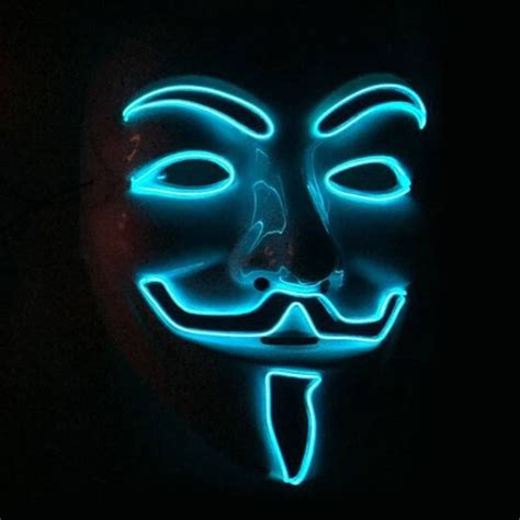 Blue Led Light Up  Guy Fawkes Mask  Pandoras Box Inc