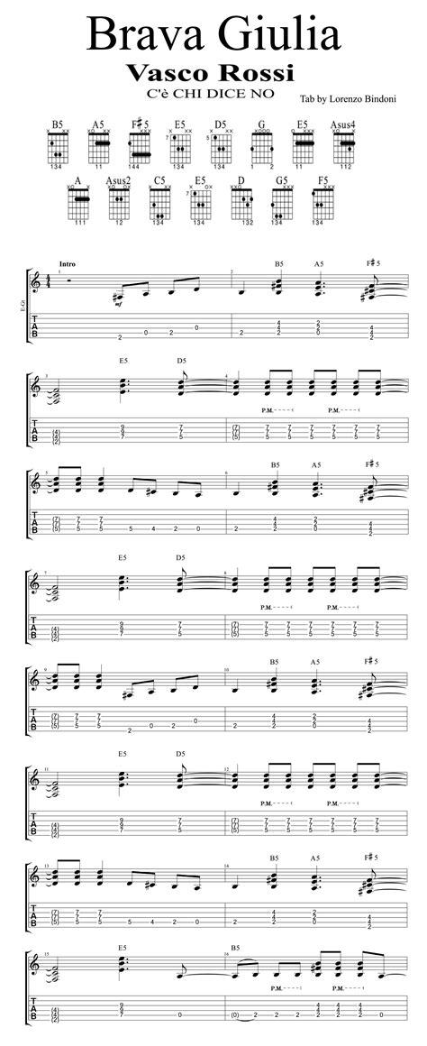 vasco brava giulia testo tab quot brava giulia quot vasco chitarra ritmica e solista
