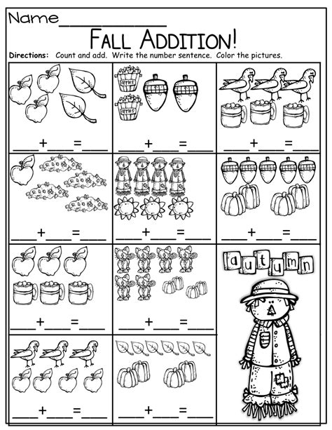 simple addition sentences for fall kinderland collaborative kindergarten math worksheets