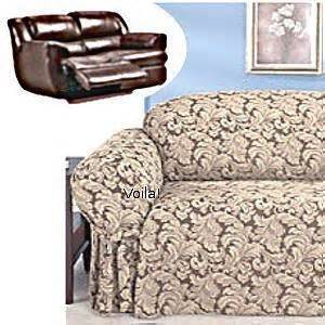 reclining loveseat slipcover damask chocolate adapted for dual recliner seat slipcover 4