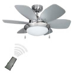 remote control silver chrome 6 blade ceiling fan with