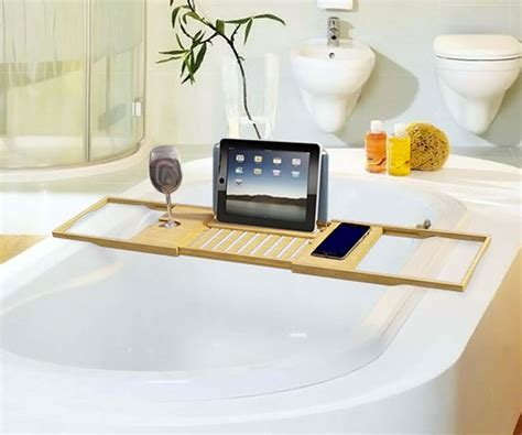Luxury Bamboo Bathtub Caddy DudeIWantThat.com