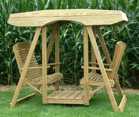 amish pine double lawn swing glider  canopy wood