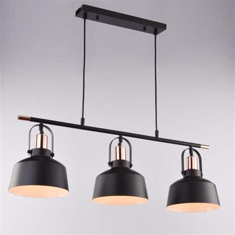 abat jour cuisine suspension loft industrielle métal noir 3 abat jours e27