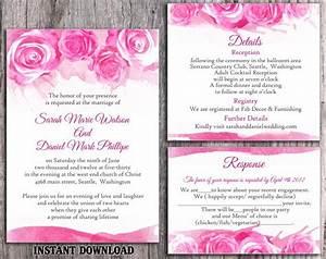 Diy watercolor wedding invitation template set editable for Wedding invitation designs fuchsia pink