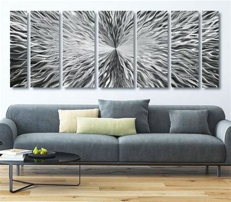 extra large modern metal wall art  silver contemporary