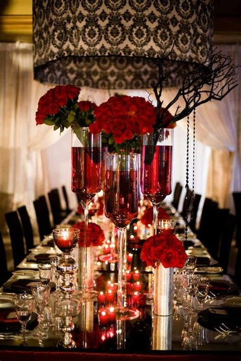 red and black wedding centerpieces table scape pinterest