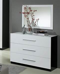 Commode Blanc Laqué : commode 3 tiroirs gloria noir et blanc blanc noir ~ Teatrodelosmanantiales.com Idées de Décoration