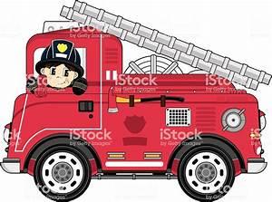 Cartoon Fireman And Fire Engine Stock Illustration