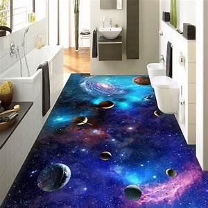 Custom 3d self adhesive floor wallpaper cosmic galaxy for Blue sky bathroom tile floor decoration