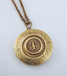 locket necklace initial t letter t vintage brass jewelry With letter locket
