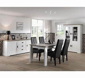 Salle a manger complete blanche avec plateau bois quotmonaco for Meuble salle À manger avec chaise de salon blanche