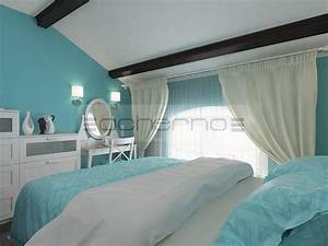 Acherno raumgestaltung sommerhaus in t rkis und wei for Schlafzimmer türkis
