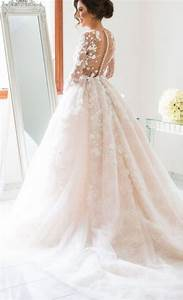 long sleeve floral applique blush ballgown wedding dress With long sleeve blush wedding dress