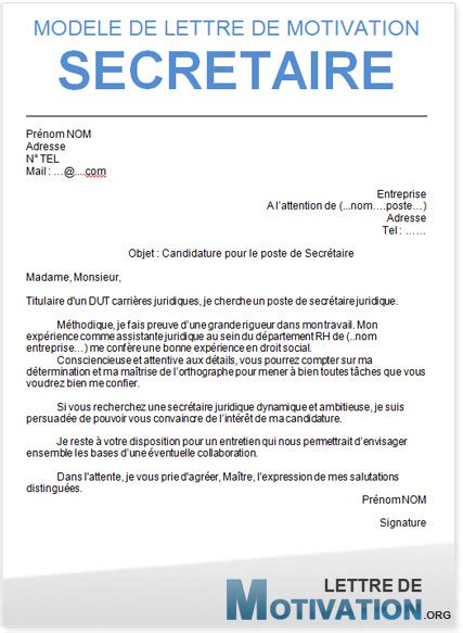 modele lettre de motivation spontanee secretaire