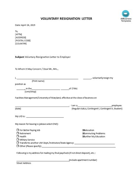 Voluntary Resignation Letter To Employer | Templates at allbusinesstemplates.com