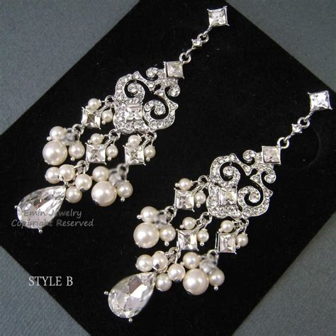 chandelier bridal earrings ivory pearl bridal earrings