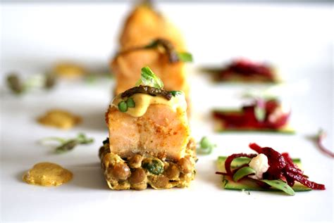 cuisine dinette indian flavoured salmon on lentil dhal with beetroot