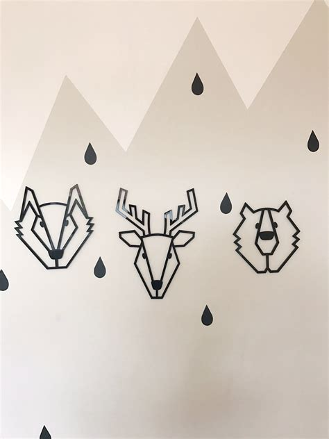 geometric bear kids wall decor  black large diddle tinkers