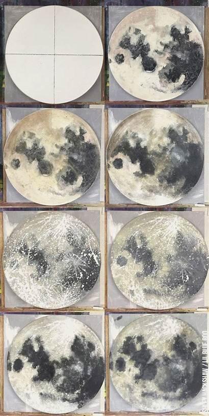 Moon Painting Acrylic Paint Tutorial Paintings Sponge