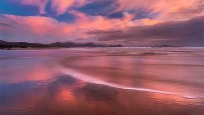 Sunset Beach Pink Ocean Reflection Sea Background