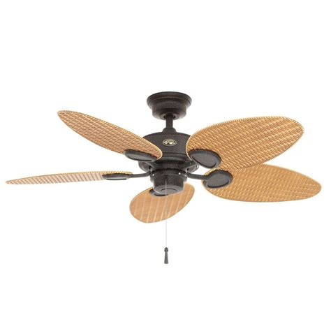 hton bay ceiling fan wicker blades hton bay palm 48 in gilded iron indoor outdoor
