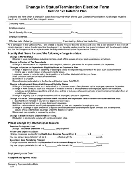 section 125 cafeteria plan change in status termination election form printable pdf