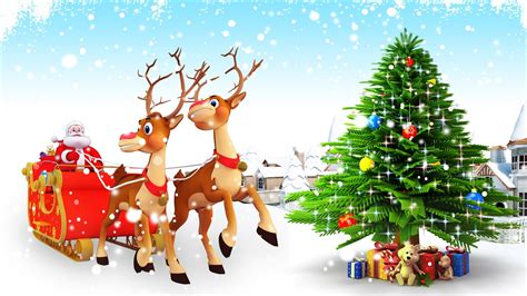 santa claus with reindeer and christmas tree vector