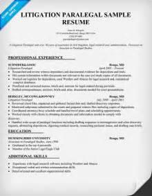Litigation Paralegal Resume Sample