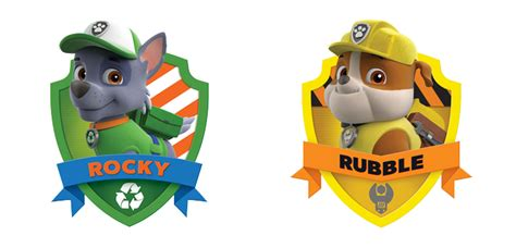 Rocky And Rubble Paw Patrol Badges