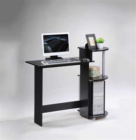 furinno 11181bk gy compact computer desk black grey new