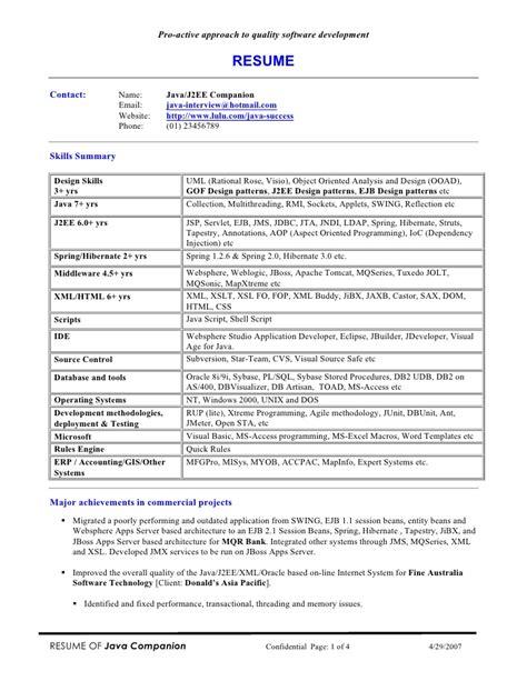 Java J2ee Resume by Java J2ee Companion