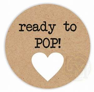 Ready to pop unisex baby shower stickers black text white heart craft paper style for Ready to pop images