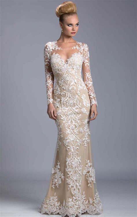 Elegant Evening Dresses 2015 Long Sleeve V Neck Mermaid ...