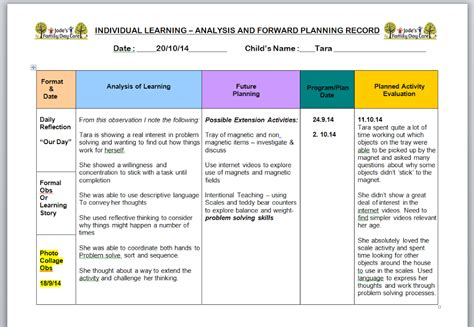 analysis reflection  evaluation  early childhood