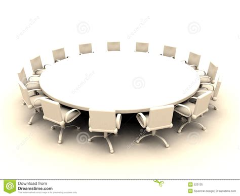 Round Table 2 Stock Illustration. Illustration Of Chairs