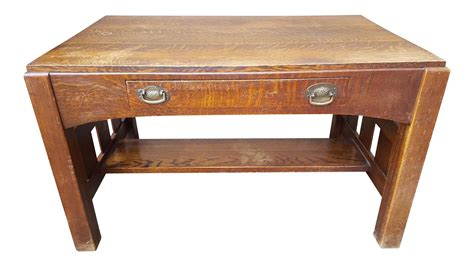 arts and crafts desk mission oak arts crafts library table desk c 1900 chairish