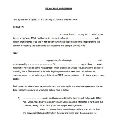 preliminary sale agreement template franchise agreement template invitation template