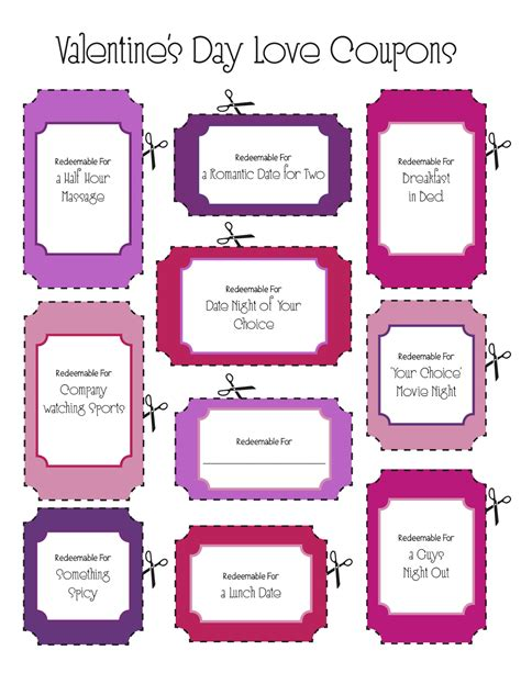 sincerely jenna marie printable valentines day coupons