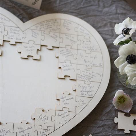 Wooden Heart Jigsaw Puzzle Wedding Guest Book The
